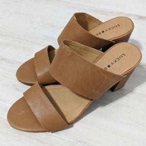 NWOT Lucky Brand Tan Slip-on Heeled Sandals